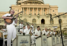 Musicians performing in front of the US Capitol