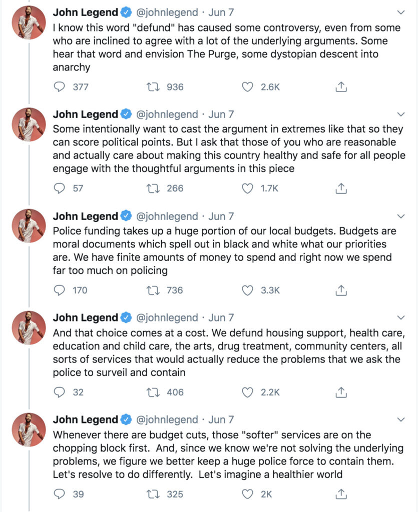 John Legend tweets about Defund the Police
