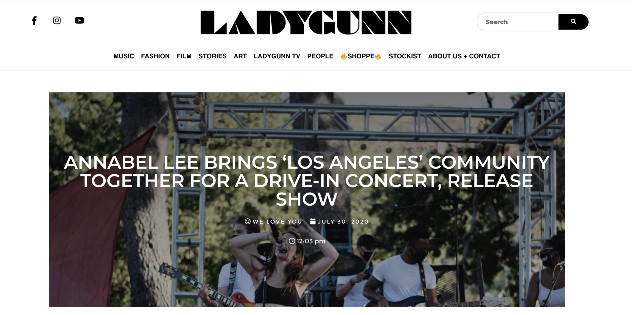 header image of Ladygunn review of Annabel Lee's drive-in concert