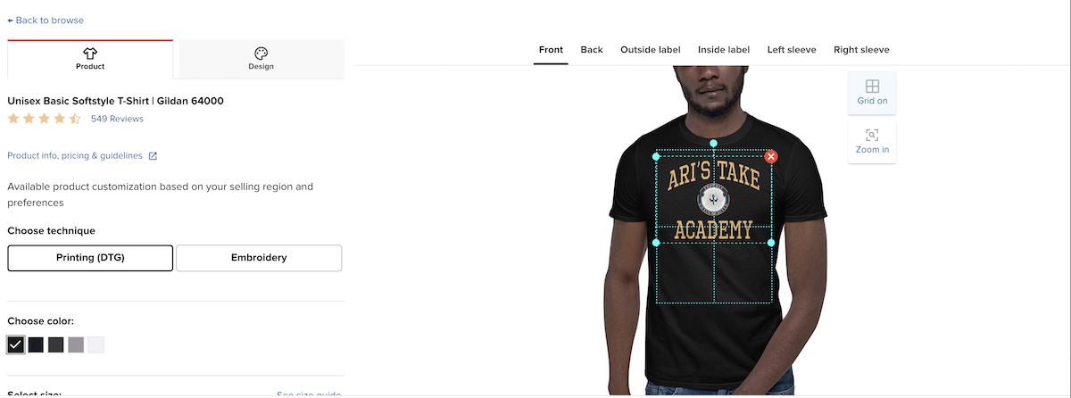 Ari's Take Academy Printful edit black t-shirt
