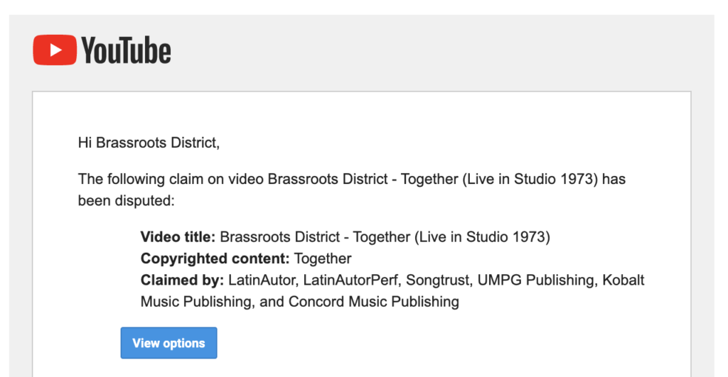 YouTube Content ID Brassroots District Copyright Strike